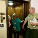 3-23-18 Wakulla Lodge Tour Art Deco Elevator Kay Price Harris, Suzanne Mitchell Wilbanks, Guide Jeffery Hugo